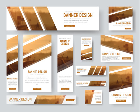 set of standard size banners. Web templates with diagonal stripes for photos. Blurred background for sample.