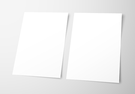 Templates of empty flyers on a gray background. Mockup  frontal and back page brochures for presentation design. Vector illustration