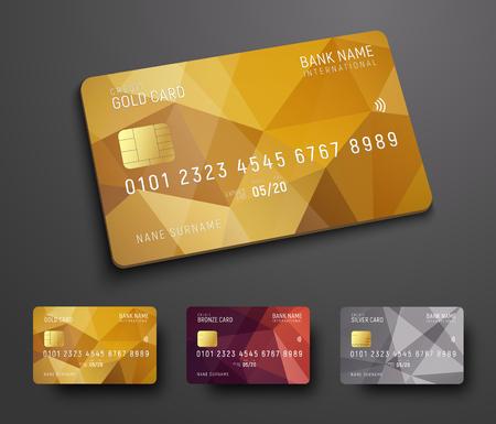 Conception d'une carte bancaire de crédit (débit) avec un fond abstrait polygonal en or, bronze et argent. Modèle pour la présentation. Illustration vectorielle Vecteurs