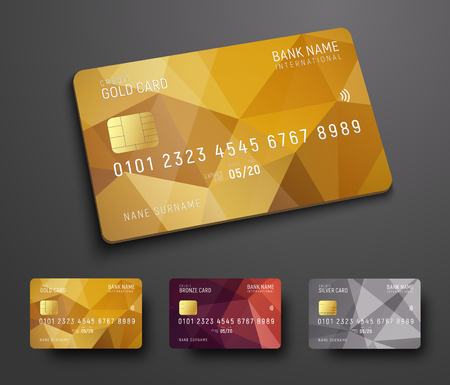 Design of a credit (debit) bank card with a gold, bronze and silver polygonal abstract background. Template for presentation. Vector illustration Vectores