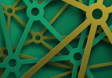 Ontwerp van een vectorachtergrond met draperende groene en gele metaalstrepen, delen van het netwerk. Futuristische achtergrond sjabloon voor web of afdrukken.
