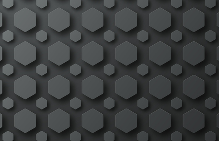 small business: Design of a black vector background with hexagons of various sizes floating in the air at different heights. Illustration