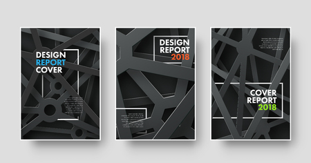 spider web: Design covers in a modern style with black and gray metal intersecting lines. Vector shaylon for business flyer, report. books or brochures with a frame for the title. Set