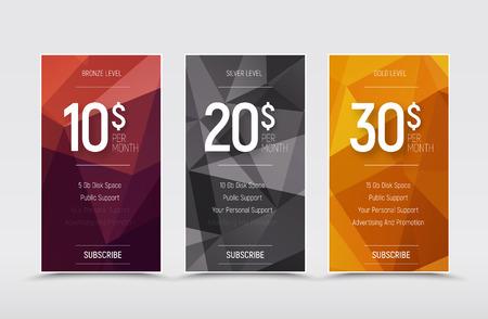 sjabloon van vector prijstabellen voor een website. Ontwerp banners met veelhoekige abstracte elementen en bronzen, zilveren en gouden niveaus.