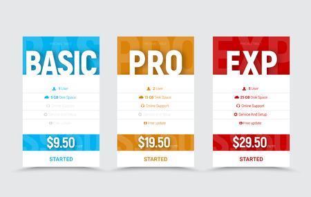 template of vector price tables for the basic, professional and expert level. Designs text with a shadow on a blue, yellow and red background. A set of banners with text, icons and buttons.