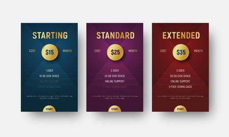 set of vector templates of price tables with a golden circle for indicating are valuable. Premium design of blue, red and violet banners with diagonals on the background.