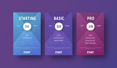 Sjablonen van vectortabellen voor een website met een cirkel voor het opgeven van de prijs. Moderne ontwerpbanners met gradiënten voor zaken en reclame. set Stockfoto - 88047788