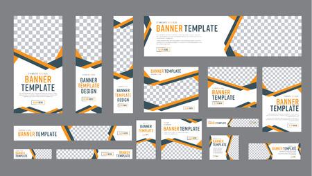 Conjunto de banners web de tamaño estándar con un lugar para fotos. Plantilla vertical, horizontal y cuadrada con cinta negra y amarilla (líneas), y botones. Ilustración vectorial