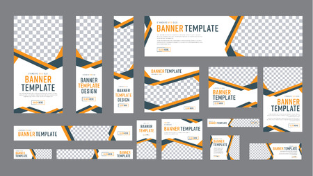 Set of web banners of standard size with a place for photos. Vertical, horizontal and square template with black and yellow ribbon (lines), and buttons. Vector illustration Фото со стока - 88691081