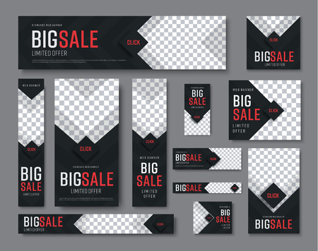 Set of vector  black web banners of standard sizes for sale with a place for photos. Vertical and horizontal templates with arrows and a diamond-shaped button. Ilustracja