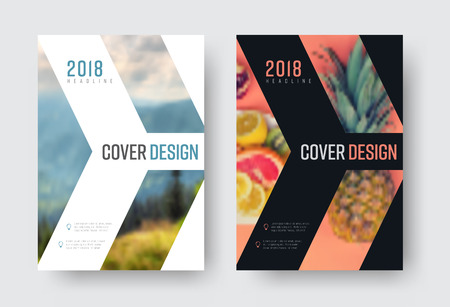 vector report cover template in a minimalistic style with a place for a photo. Design flyer with an arrow, white and black modern version of the brochure. blurred photo for an example Illustration