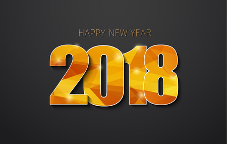 Vector black Background 2018. Happy New Year Golden polygonal digits with shadow. Illustration