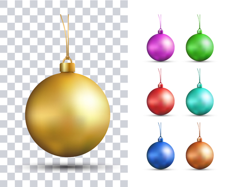Set of vector realistic multicolored Christmas balls. New Years Toys