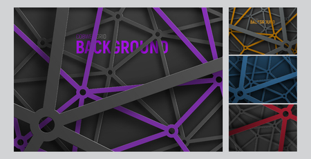 Set vector  of backgrounds in an intricate metal spider web of lines and circles. Template of abstract backdrop