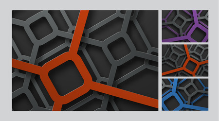 template of vector backgrounds with a grid of rhombuses at different heights. Design of the backdrop with colored lines and metallic effect. Set