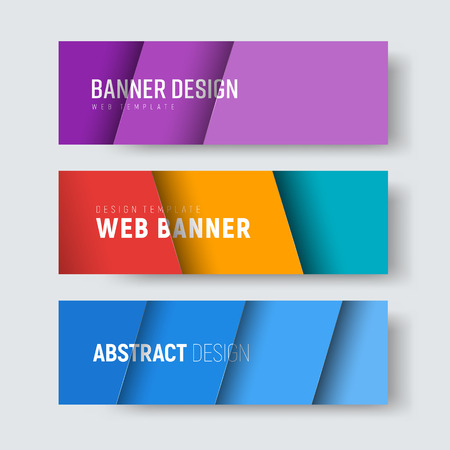 Set of horizontal web banners with multi-colored diagonal sheets floating over the background. Ilustração