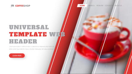 Design of a white vector header with red diagonal stripes and a place for a photo. Universal banner template.