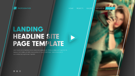 Template header site with diagonal black and blue lines and a place for a photo. Modern banner design with title, text and buttons. Vector illustration Illustration