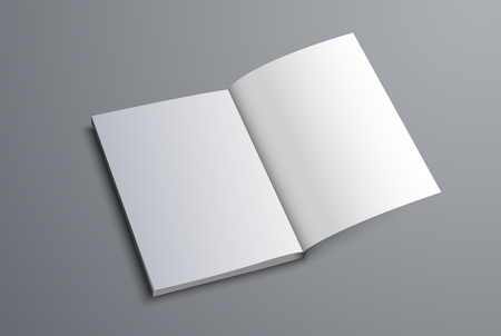 Mockup of the A5 or A4 catalog is open on the last page. Brochure template for presentation of design. Vector illustration