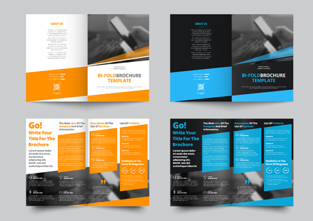 Vector bi-fold brochure for business and advertising. The template is black and white with blue and yellow dice for information. Design for printing and advertising.