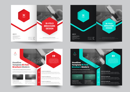 Vector bi-fold brochure for with a place for photos and hexagonal colored elements. Template in white and black for business, reports, advertising and printing.
