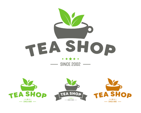Icon for a tea shop or brand with a cup, ribbon and leaflets. Vector illustration. Illustration