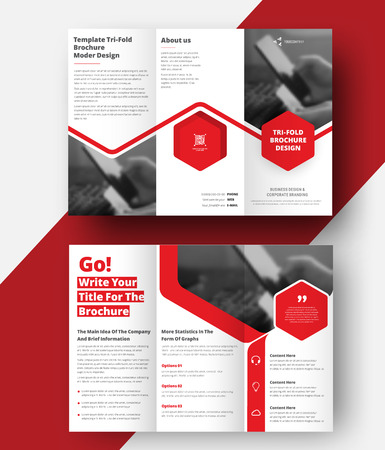 Vector triple folding brochure for business and advertising. The template is white with a red hexagon and a place for photos. Design for printing and advertising. Иллюстрация