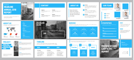 Vector presentation template with blue lines. Design slides for business, annual reports and brochures. Set