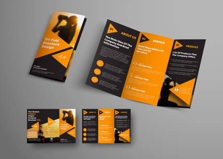 black triple folding brochure template with orange triangular elements. Universal business booklet design with a place for a photo. A sample for sport.