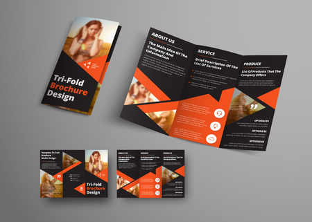 Design of a vector tri-fold brochure with orange triangular elements and place for a photo. Universal business template booklet for advertising and printing.