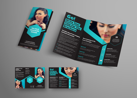 Design of a vector triple folding brochure with blue hexagonal elements and a place for photos. Universal business template booklet for advertising and printing. A black  sample for make-up and cosmetics Иллюстрация