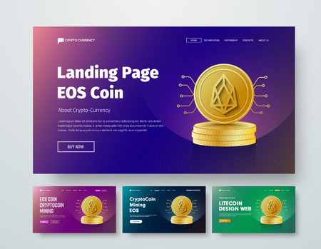 set of vector templates web header with gold stacks of coins EOS and elements of microcircuits. Design a banner with purple, green and blue gradients, buttons and header. Stock Vector - 102877947