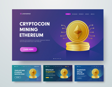 Template vector header with gold stacks of Ethereum coins and elements of microcircuits. Web banner design with multicolored gradients, backlight, buttons and text. Set