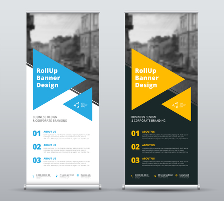 Templates of vector white and black roll-up banners with a place for a photo. Design for business, advertising and printing with blue and yellow elements. Set