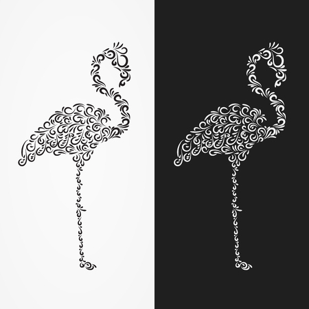 Vector Silhouette of the heron of their ornate shapes and curls. illustration isolated on white and black background  イラスト・ベクター素材