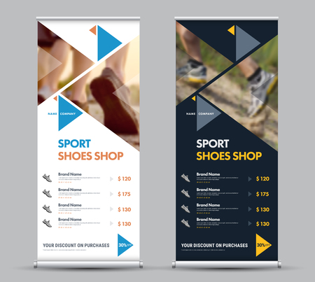 Design of a universal vector roll-up banner with triangular elements and a place for photos. Template for a sports shoes store or clothes. Set Illustration