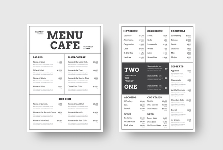 Vector design menu for cafes and restaurants with the division into blocks of thin lines. Front and back A4 format template, list of dishes and special offers. Vetores