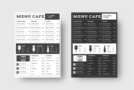 Vector template menu for cafes and restaurants with a block of lines. Black and white design sample with icons of alcoholic drinks. Set Vetores