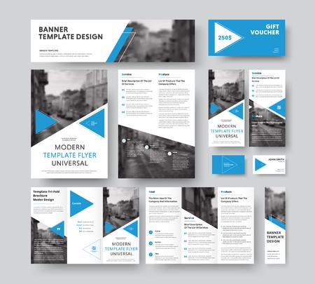 style d'entreprise avec des éléments de design bleu triangulaire, des diagonales et une place pour les photos. Modèles de flyers vectoriels, brochures, bons, cartes et bannières.