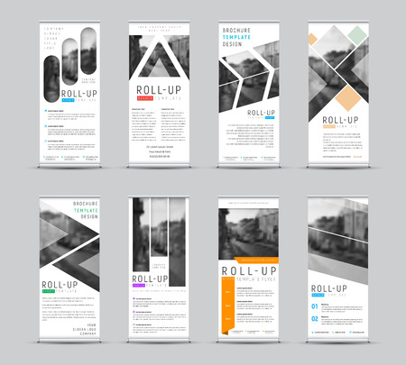 Vector design of roll-up banners with different geometric shapes for a photo. White templates for business and advertising. Set Illustration