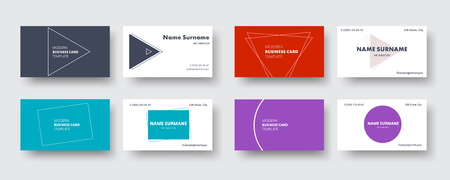 set of business cards in a minimalist style with different geometric shapes. Red, blue, purple and dark template. Vector illustration