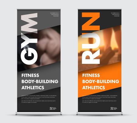 Bannière de roll-up template vecteur dans un style moderne géométrique avec place pour la photo. Conception pour le sport, les affaires avec des diagonales orange, grises et noires.