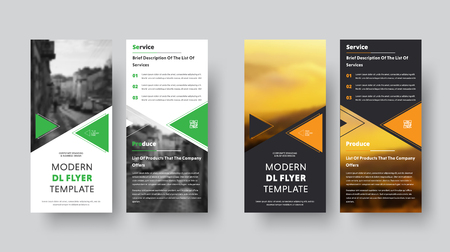 Black and white vector DL flyer design with place for photo. Template with orange and green triangles. Vectores