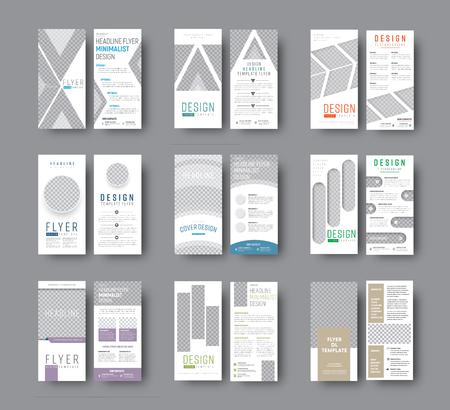 Conjunto de folletos vectoriales DL con diferentes formas geométricas para diseño fotográfico. Plantillas de volantes blancos para negocios y publicidad. Ilustración de vector
