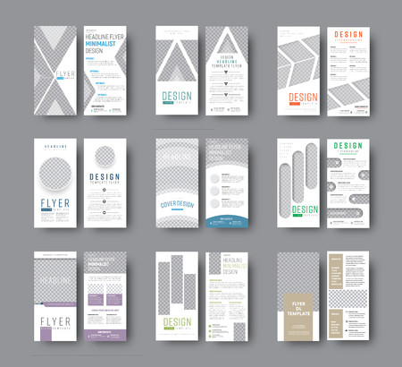 Set of DL vector flyers with different geometric shapes for photo design. Templates white flyers for business and advertising. Illustration