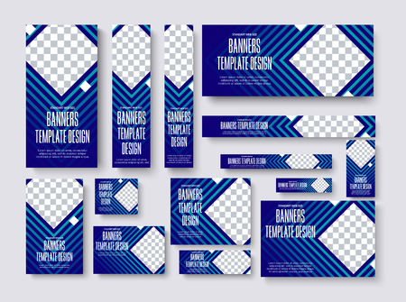 set of vector web banners of standard size with a square place for a photo. Blue Template for business and advertising with gradients and lines. Ilustrace