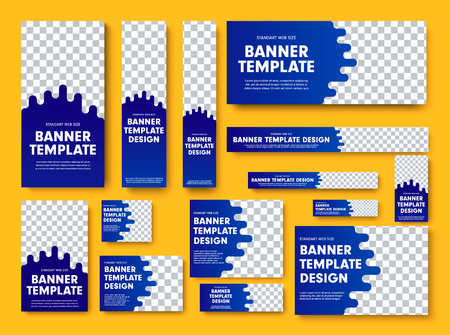 Set of blue vector web banners with place for photo. Design A standard size template for business and advertising with a gradient.