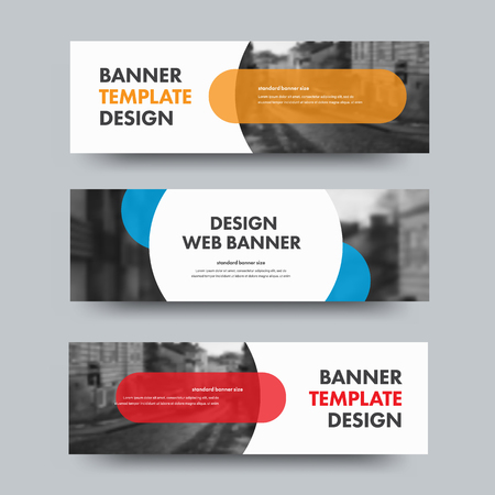 Template of horizontal web banners with round and semicircular elements and place for photo. A set of standard size for business and advertising. Vector illustration.