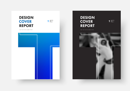 Black and white vector cover design of the annual report with the letter T. Template for poster, flyer, brochures with soft blue gradient and photo.