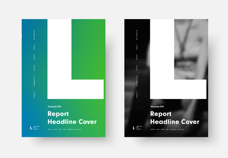 Design of a black and white poster in a modern minimalist style with a letter L. Annual report cover template, flyer, rolled with a soft blue-green gradient and dark photo. Ilustrace